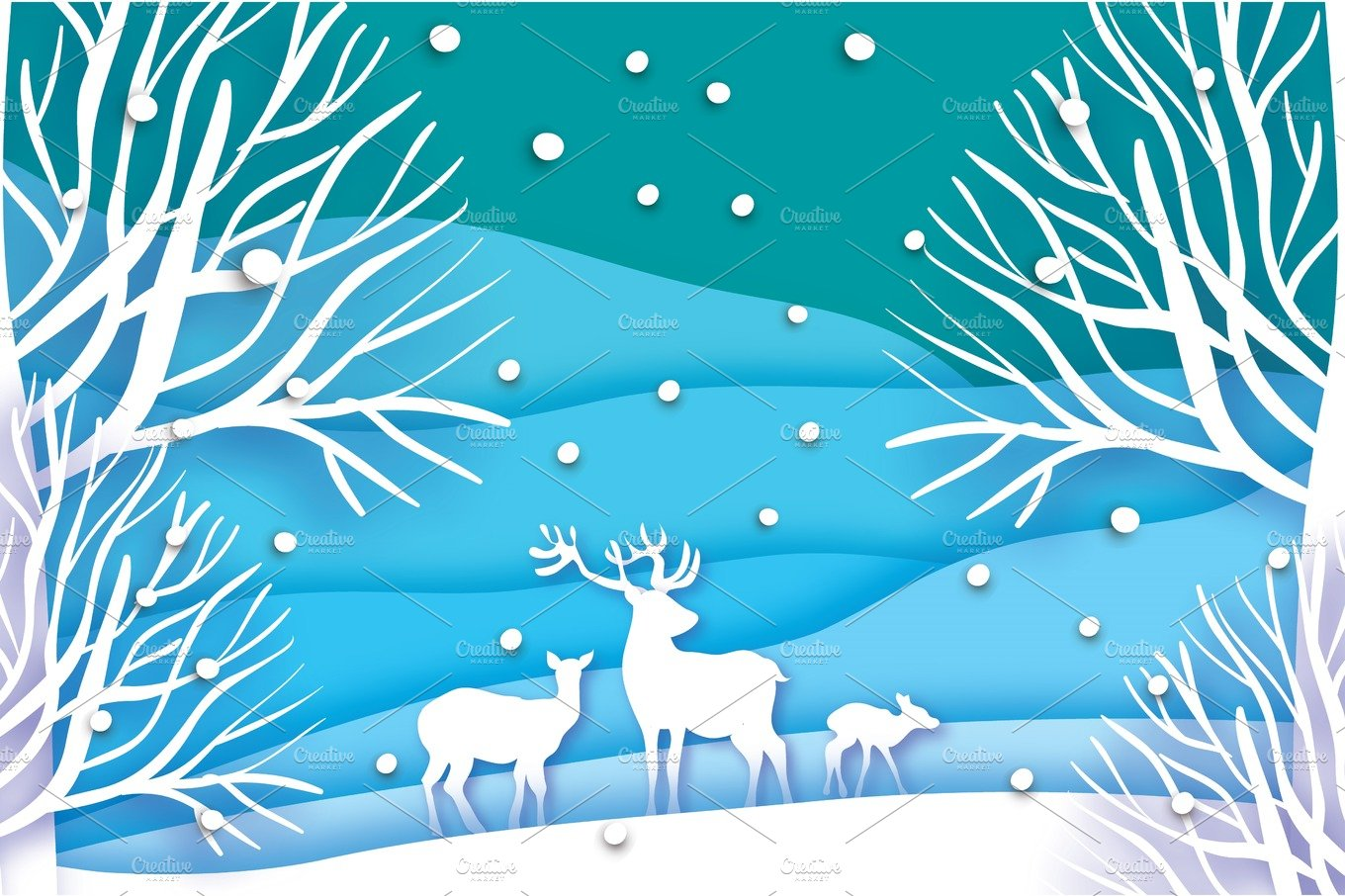 Paper cut deer family in snowy forest and landscape. Merry ... - photo#26