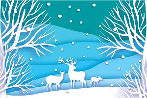 Paper cut deer family in snowy forest and landscape. Merry Christmas Greeting card. Origami winter season. Happy New Year. Birch trunk. Paper art style. Blue background. Vector