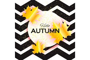 Beautiful Gold Autumn paper cut leaves. Hello Autumn. September flyer template. Circle frame. Space for text. Origami Foliage. Maple. Fall zigzag poster background. Vector