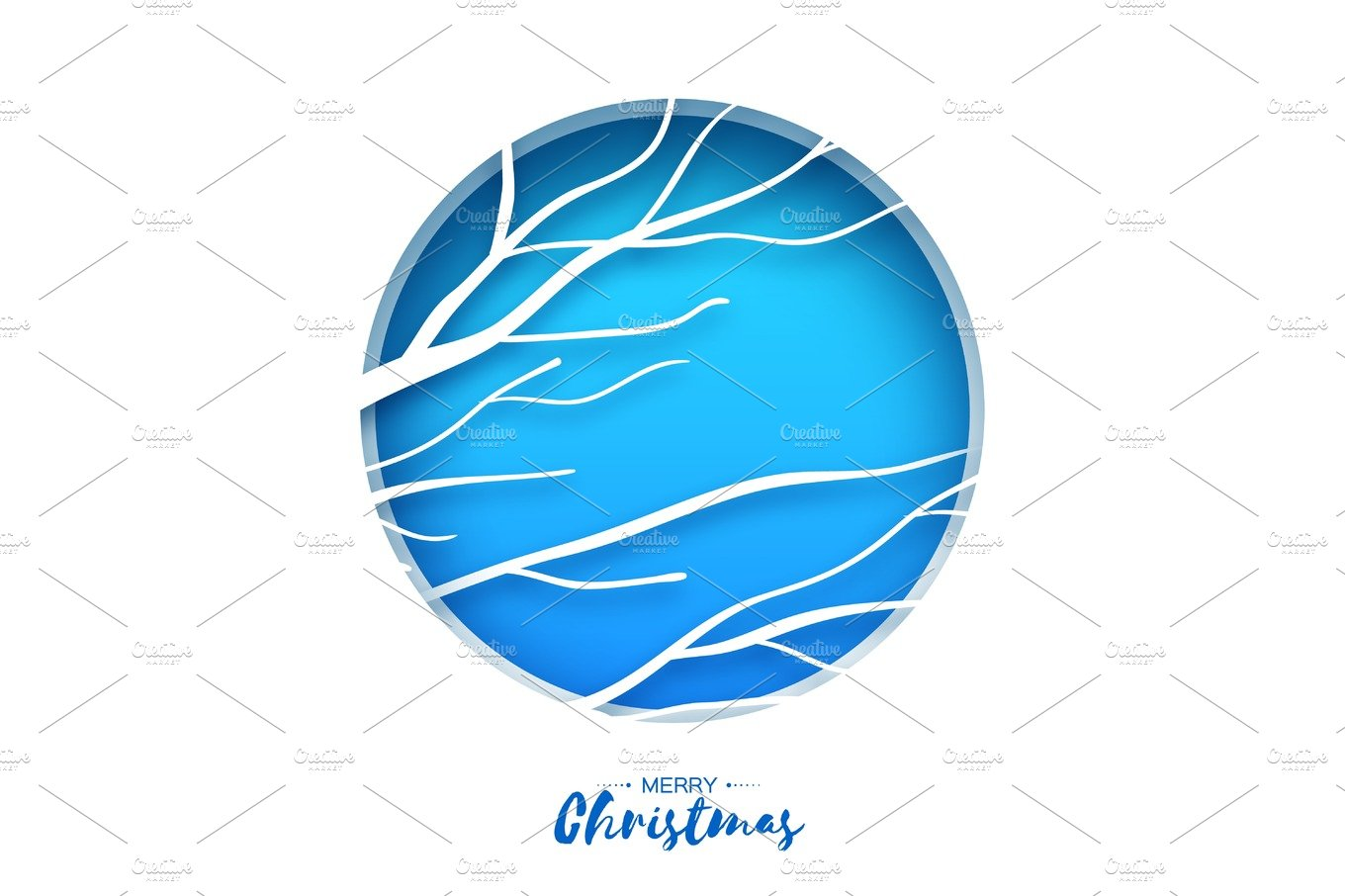Merry Christmas Greeting Card. Birches branch in paper cut ... - photo#49