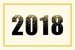 Luxury 2018 New Year gold glitter lettering for your decoration