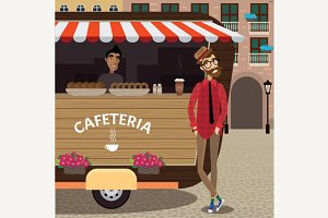 Hipster with coffee stall