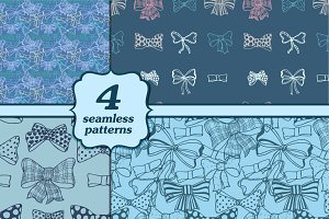 Set of bows, hand drawn patterns