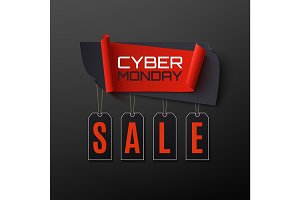 Cyber Monday Sale. Abstract banner on black background.