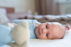 Cute newborn baby boy with teddy bear lying on bed
