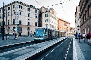 Tram in street in Rome
