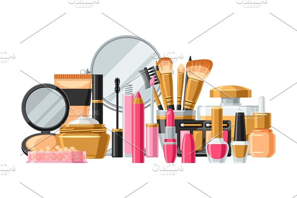 Cosmetics For Skincare And Makeup Banner For Catalog Or Advertising