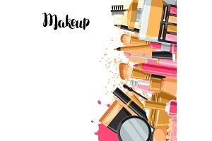 Cosmetics for skincare and makeup. Background for catalog or advertising