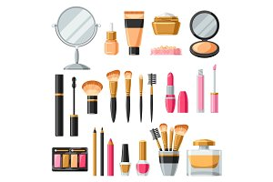 Cosmetics for skincare and makeup. Product set for catalog or advertising