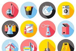 Cleaning Service Flat Icons Set
