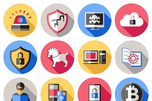 Internet Security Flat Icons Set