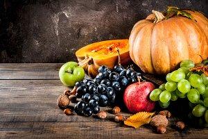 Seasonal fall fruits and pumpkin