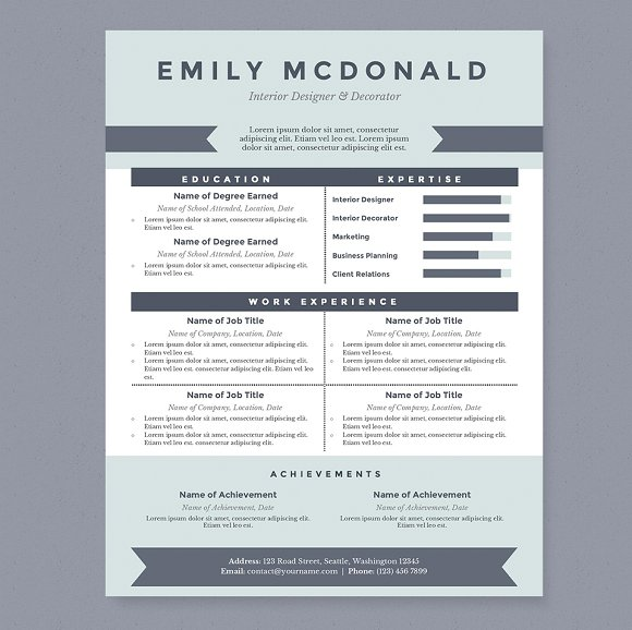 sea blue resume template package resume templates on creative market. Black Bedroom Furniture Sets. Home Design Ideas