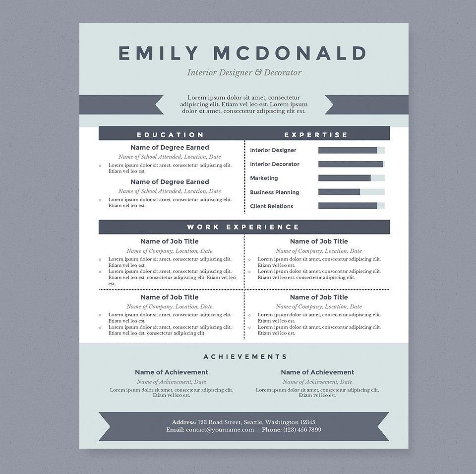 sea blue resume template package resume templates creative market