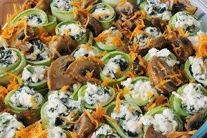 Zucchini rolls stuffed