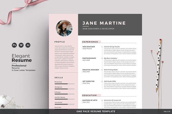 Resume Cv Jane Resume Templates Creative Market