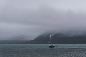 Rainy weather and sailboat