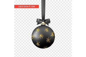 Xmas balls black and gold color.
