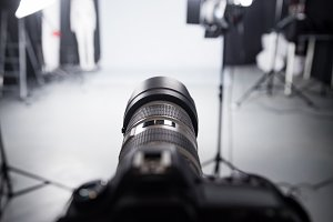 Professional camera set for a studio photo shoot.