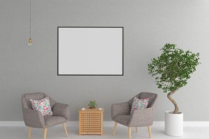 Interior mockup - blank wall mock