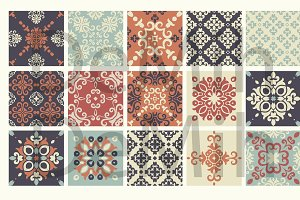 Set of 15 vintage tiles patterns