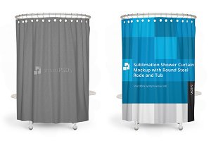 Sublimation Shower Curtain Mockup