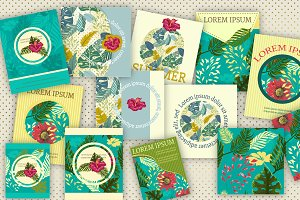 Big SET of 17 Tropical Cards & Patt