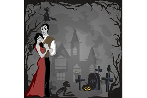 halloween gothic party with vampire couple, fun background for horror invitation on vamp cosplay, dracula teeth and fangs on vector flyer, white man and woman nightlife poster or banner illustration