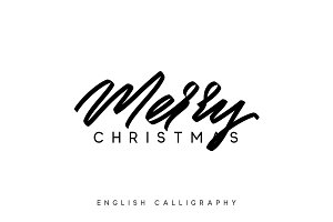 Text Merry Christmas. Xmas hand drawn calligraphy lettering