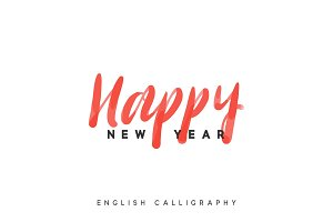 Text Happy New Year. Xmas calligraphy lettering