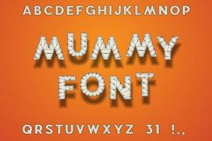Mummy Bandage Font. Halloween Style