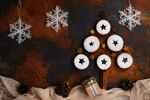 Linzer cookies, Christmas background