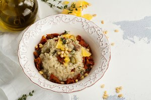 Gourmet meat and vegetables risotto