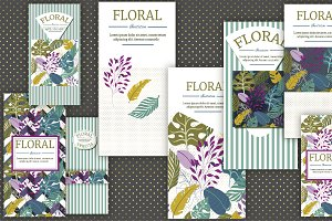 Set of cards & patterns TROPICAL