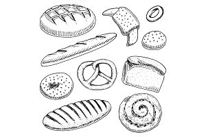 bread and pastry donut, long loaf, baguette and cupcake and sweet bun or pretzel. engraved hand drawn in old sketch and vintage style for poster, label and menu bakery shop. organic food of flour.