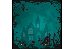 Halloween background. Horror forest with woods, spooky tree, pumpkins and cemetery.