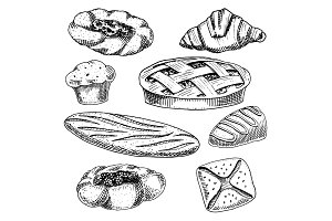 bread and pastry donut, long loaf and fruit pie. cupcake and sweet bun or croissant, chocolate muffin. engraved hand drawn in old sketch and vintage style for label and menu bakery shop. organic food.