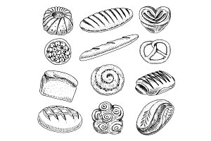 bread and pastry donut, long loaf and fruit pie. sweet bun or croissant, bagels and toasts. engraved hand drawn in old sketch and vintage style for label and menu bakery shop. organic food.