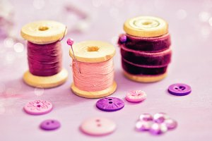 Sewing kit, purple color