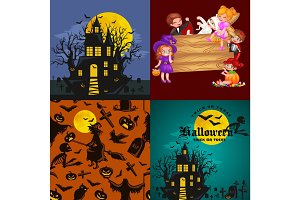 Cute colorful Halloween kids in costume for party set isolated vector illustration