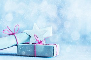 Retro gifts, present boxes on glitter background. Christmas