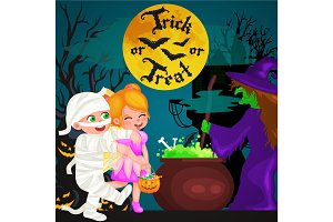 Halloween night background with pumpkin full moon and trick or treat text vector illustration