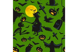 witch on a broomstick under  full moon with skeletons and pumpkins to the cemetery where the crows fly over the crosses