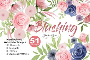 Watercolor Flower Clipart - Blushing