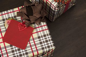 presents wrapped in checkered paper