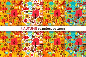 Autumn Flat Seamless Patterns