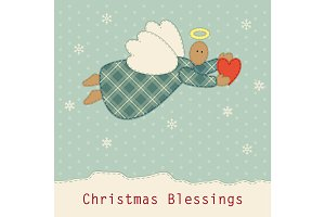 Cute vintage patchwork Christmas angel