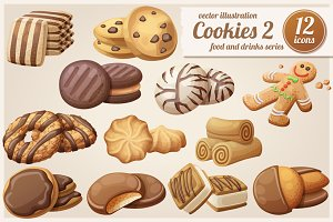 Cookies 2: Cartoon vector food icons