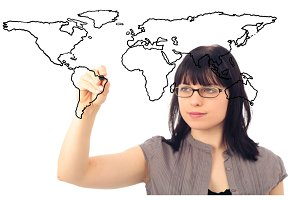 Businesswoman Drawing A World Map