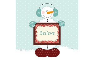 Cute snowman with big heart as retro fabric applique in shabby chic style